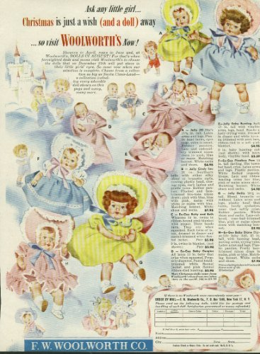 Woolworth's Christmas doll ad 1951 Ee-Gee Betty & Beth Gurglee Jolly Jill +