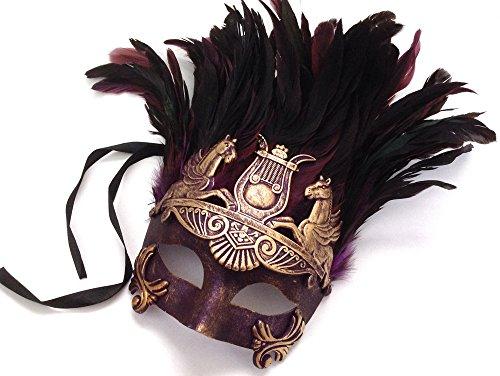 [Mens Roman Gladiator Thor Mask Venetian Gold Purple Feather Mask] (Purple Feather Mask)