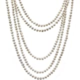 HinsonGayle AAA Handpicked 5-5.5mm White Freshwater Cultured Pearl Rope Necklace 100 inch Endless Strand