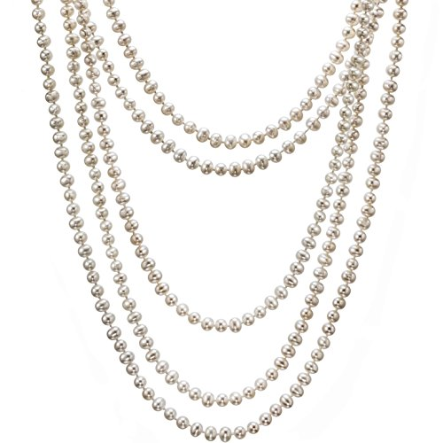 HinsonGayle AAA Handpicked 5-5.5mm White Freshwater Cultured Pearl Rope Necklace 100″ Endless Strand