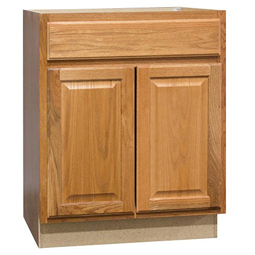 Hampton Bay Hampton Assembled 30 x 34.5 x 21 in. Base Bath Vanity Cabinet in Medium Oak ()