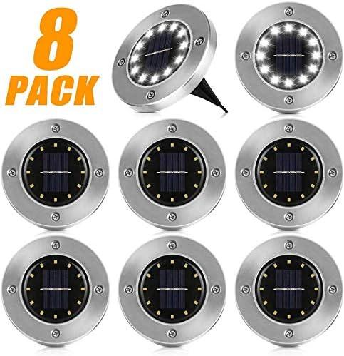 8er Solarlampe Garten Lampe Solarleuchten Bodenstrahler Rund Gartenleuchten LED