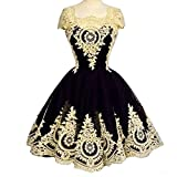 Kivary Vintage Short Little Black Corset Lolita Prom Homecoming Dresses Gothic Gold Lace US 18W