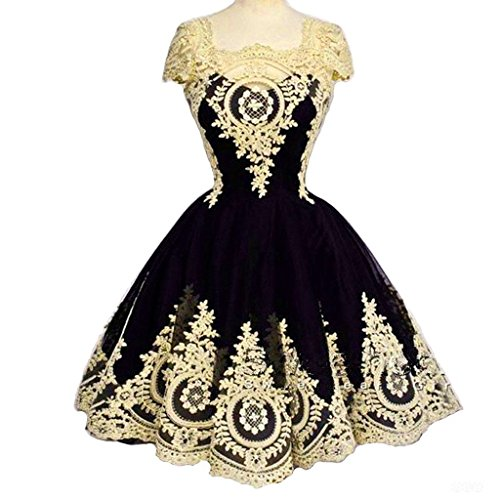 Corset Prom Dresses 2016 - Kivary Short Little Black Corset Lolita Prom Homecoming Dresses Gothic Lace 18W Gold and Black