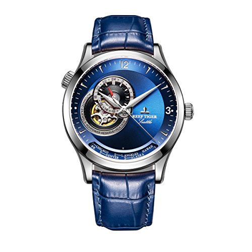 Reef Tiger Men's Casual Watches Genuine Leather Strap Automatic Watches Blue Dial RGA1693