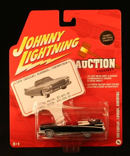 2005 Current Mustang (1959 CADILLAC ELDORADO CONVERTIBLE * BLACK * 2005 Auction Insanity Johnny Lightning Die-Cast Vehicle & Bonus Auction Paddle #9 of 12)