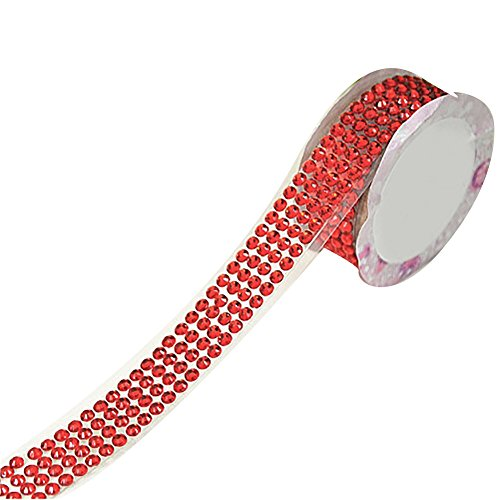 (HEART SPEAKER DIY Self-Adhesive Acrylic Rhinestones Stick On Scrapbooking Craft Sticker Tape (Red))