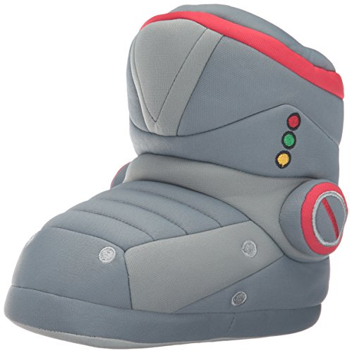 Robot Costumes Usa (Trimfit Boys' Robot Boot Slippers Moccasin, Grey/Red, 11/12 M US Little Kid)