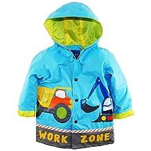 Wippette Little Boys' Waterproof Hooded Construction Trucks Raincoat Jacket, Blue, 7