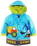 Wippette Little Boys Waterproof Work Zone Construction Trucks Raincoat Jacket, Blue, 6