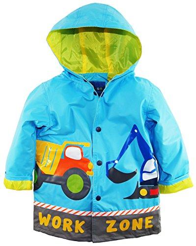 Wippette Little Boys Waterproof Work Zone Construction Trucks Raincoat Jacket, Blue, 5 by Wippette