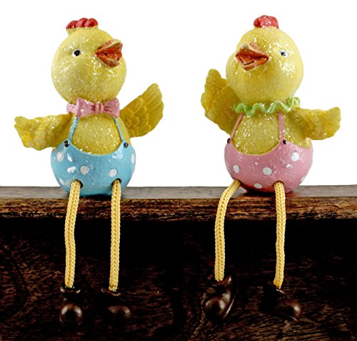 Gerson Easter Chick Couple Glitter Shelf Sitter Figurines - Set of 2