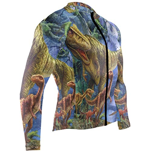 Dinosaur Family Mens Cycling Jersey Top Long Sleeve Mountain Bike Skinsuits Outfit