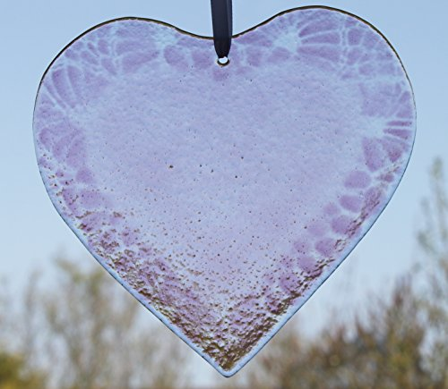 Friendship Fused Glass Heart in Shades of Lavender/Purple
