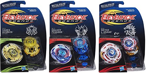 Beyblade Legends BB-99 Hades Kerbecs BD145DS Top, BB-70 Galaxy Pegasus W105R2F Top & BB-88 Meteo L-Drago LW105LF Top Bundle by Hasbro (Image #1)