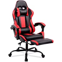 ALFORDSON Gaming Racing Chair Executive Sport Office Chair with Footrest PU Leather Armrest Headrest Home Chair in Red…