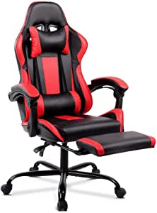 ALFORDSON Gaming Racing Chair Executive Sport Office Chair with Footrest PU Leather Armrest Headrest Home Chair in Red Colour