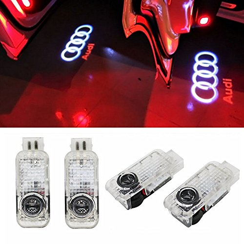 Car LED Door Logo Ghost Shadow Projector Laser Welcome Lights Symbol Emblem Courtesy Step Lights Ground Lamp Kit for Audi Series (4 Pack)