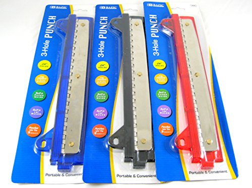 2 Pk, Portable 3- Hole Punch, Colors may vary (Blue,Black,Red) (Binder Hole Punch)