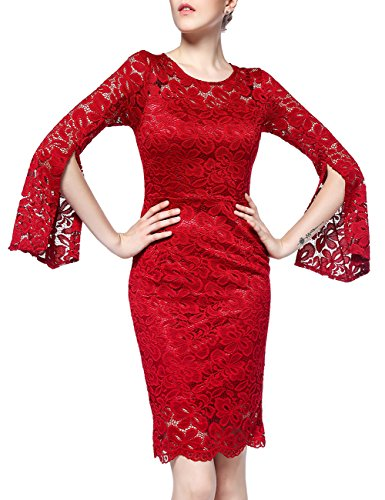 Evening Party Cocktail (DISBEST Women's Vintage Floral Long Sleeve Round Neck Lace Bodycon Cocktail Party Evening Dresses)
