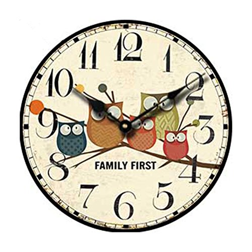 Tinksky Wood Wall Clock,Vintage France Paris Colorful Fre...
