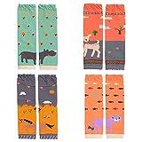 Cartoon Baby Knee Pads Socks Toddler Boys Leg Warmers Infant Girls Crawling Socks 4-PACK
