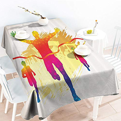 Jinguizi Decorative Fabric Table Cover Silhouette Winner Man on Grunge Background Decorative Colorful Illustrationindoor Outdoor TableclothYellow Puple(54 by 90 Inch Oblong Rectangular)