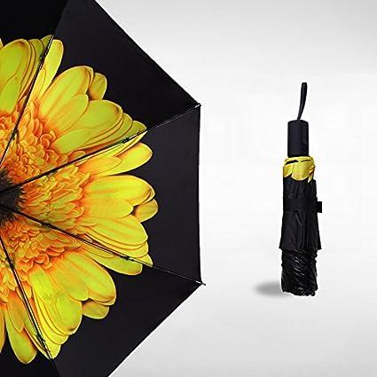 SSBY Flor Elegante Sombrillas Paraguas Negro Pequeño Paraguas Flores Sombrillas Elegante Paraguas Sombrillas Y Paraguas Negrosamarillo