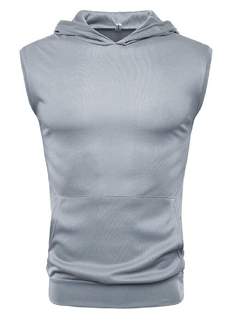 Spirio Men Sleeveless Running Plain Casual Athletic Hooded Tank Top T-Shirt