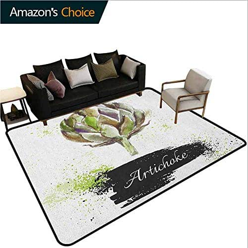 YucouHome Artichoke Sports Area Rugs for Bedroom, Hand Drawn Delicious Fresh Vegetable Healthy Menu Good Eats Super Food, Fashionable High Class Living Bedroom Rugs(2'x 6') Fern Green and Black