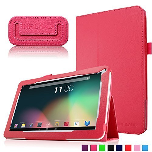 """Infiland Folio PU Leather Slim Stand Case Cover for 10.1"""" Android Tablet including Dragon Touch A1X Plus 2016 Edition / A1X Plus / A1X / A1 10.1"""" tablet, NeuTab N10 10.1"""", ProntoTec 10.1"""" Dual Core Android 4.2 Tablet, Polatab Elite Q10.1, ValuePad VP112 10"""", Tagital T10 10.1"""", iRULU eXpro X1s 10.1"""", POOFEK 10.1"""", etc (more compatible tablet models,please check in the description)-Red"""