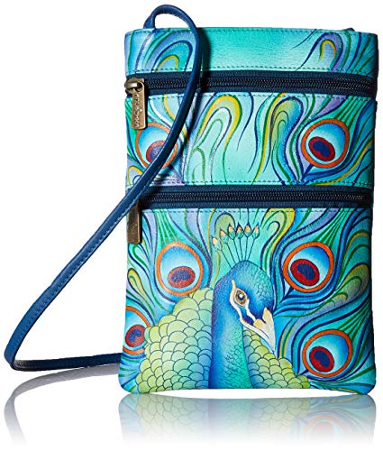 Anuschka Travel One Jeweled Leather Plume Crossbody size Painted Zip Ocean Women's Oct Double Hand Genuine Treasures Bag 0fx40qrwR