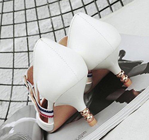 Sexy Kitten Cheville Femme Boucle Avec Bride heel Aisun Escarpins Blanc 5a6vqRx