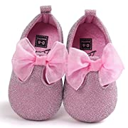 Voberry Toddler Baby Girls Boy's Sneaker Moccasins Anti-slip Soft Sole Bow Shoes (6~12Month, Pink)