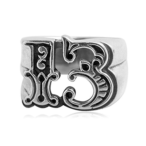 Beydodo Mens Silver Ring, Lucky Number 13 Ring Size 8 Men Rings Hip Hop by Beydodo