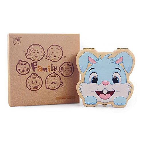 TAMUME Wooden Teeth Box Rabbit KeepSake Box with 20 Holders for Milk Teeth Box and 2 Holders for Baby Curl Hair Ideal for Chirstmas Gift for Kids Souvenir Box and -