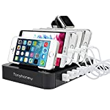 USB Charging Station Dock & Organizer Tonyhoney Multiple USB Charger Station, 6 Ports Universal Electronics Cell Phone Docking Station for Apple Watch iPhone & Other Smartphones