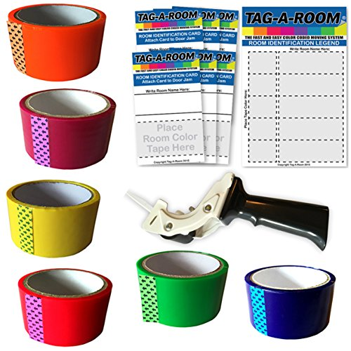 Tag-A-Room Colored Packing Tape and Tape Gun Dispenser, Move by Color Kit 1, Moving Supplies