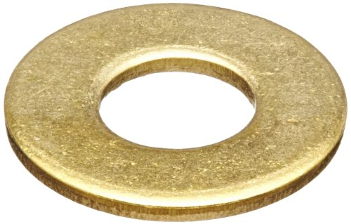 Brass Flat Washer, Plain Finish, DIN 125, Metric, M3 Screw Size, 3.2 mm ID, 7 mm OD, 0.5 mm Thick (Pack of 100)