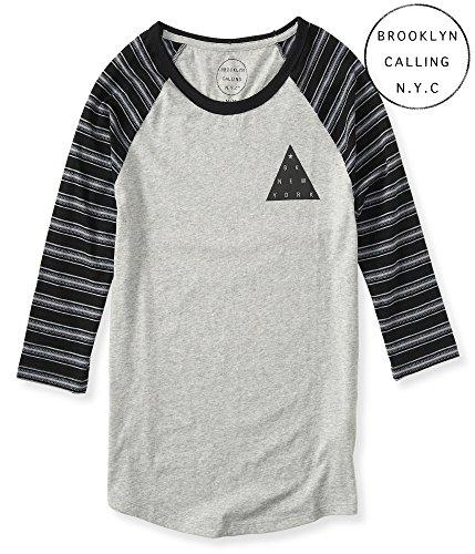 Aeropostale Men's Brooklyn Calling 3/4 Sleeve Stripe Raglan Tee Shirt S Light He