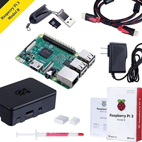 Raspberry Pi 3 Model B Kit with Black Case, Power Supply, Heatsink, 32GB SD Card, HDMI Cable