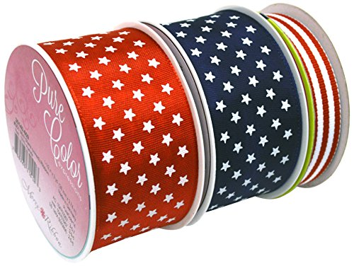 Morex Ribbon Stars and Stripes French Wired Polyester Ribbon (Pack of 3), 1-1/2