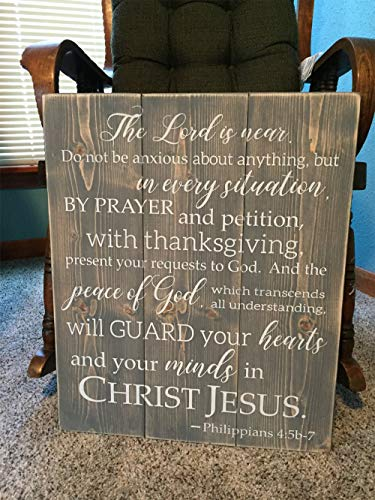 (Philippians Scripture Sign Religious Home Decor Custom Bible Verse Shabby Chic Rustic Wood Sign Christian Wall Art Shabby)