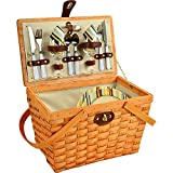 Picnic at Ascot 716H-SC Frisco Traditional American Style Picnic Basket with Service for 2, Santa Cruz