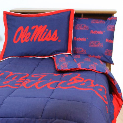 NCAA Ole Miss Rebels Bedding Set Collegiate Blue Queen Bed Ole Miss Rebels Pillow