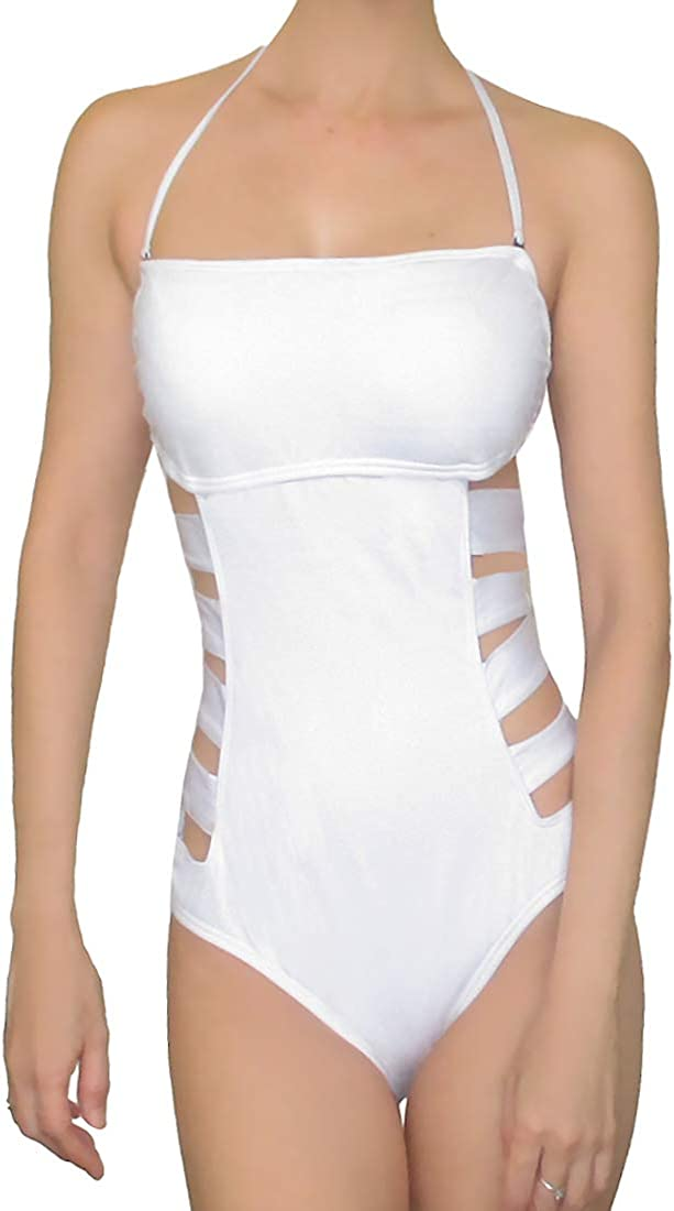 Kenneth Cole One Piece Swimsuit Bandeau Strappy Cut Out Waist Bathing Suit White Large