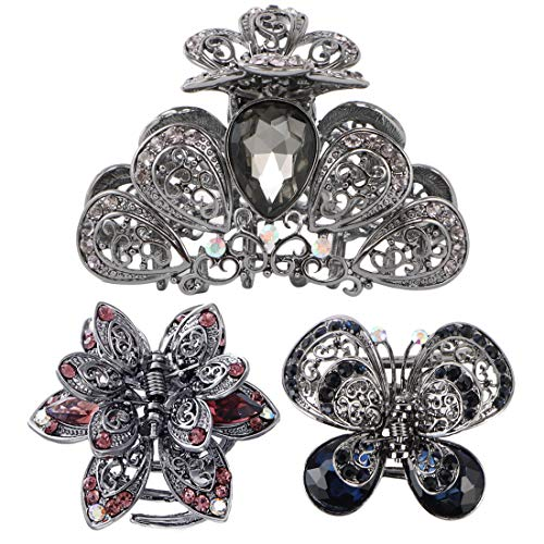 kilofly 3pc Women's Rhinestone Crystal Faux Hair Clip Claw Barrettes Value Pack
