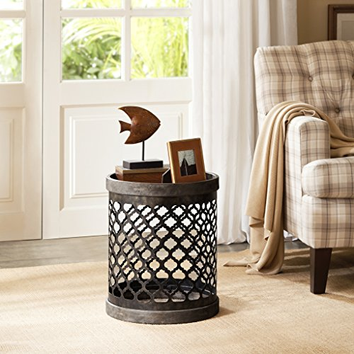 Madison Park FPF17-0129 Cirque Accent Metal Side Table Drum Design, Modern Mid-Century Rustic Style Living Room Furniture, Medium, Grey