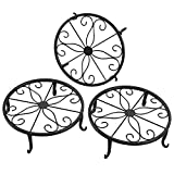 FaithLand Metal Potted Plant Stand, Pot Holder, Decorative Pot Trivet, 9 inch, Black, Set of 3