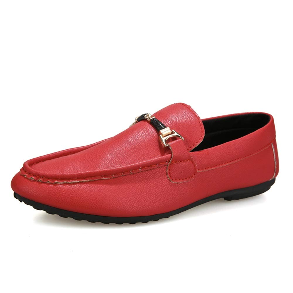 Gobling Wedding Shoes Leisure Loafer for Men, Comfort Leather Metaldecor Boat Moccasins Non-Slip Fashion Low Top British Style Walking Shoes (Color : Red, Size : 8.5 M US)